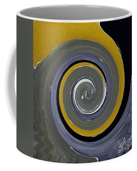 Twirl Coffee Mug featuring the painting Twirl Yellow by Gull G