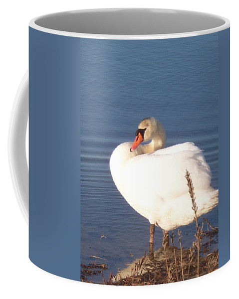 Twisted Coffee Mug featuring the painting Twisted White Swan by Eric Schiabor