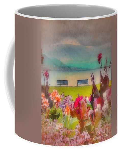 Lake Coffee Mug featuring the photograph Two Benches by Tara Turner