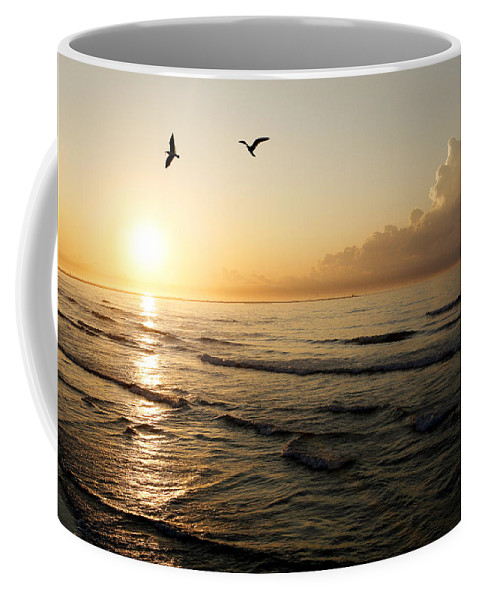 Beach Coffee Mug featuring the photograph Two Birds At Breakast by Marilyn Hunt