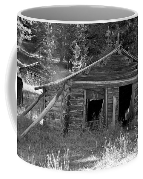 Abandoned Coffee Mug featuring the photograph Two Cabins One Outhouse by Richard Rizzo