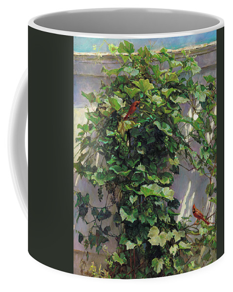 American Coffee Mug featuring the painting Two Cardinals On The Vine Tree by Svitozar Nenyuk