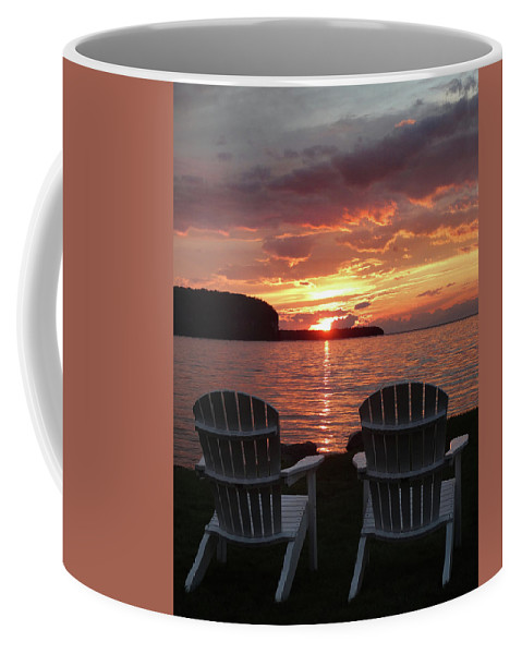 Two Coffee Mug featuring the photograph Two Chair Sunset by David T Wilkinson