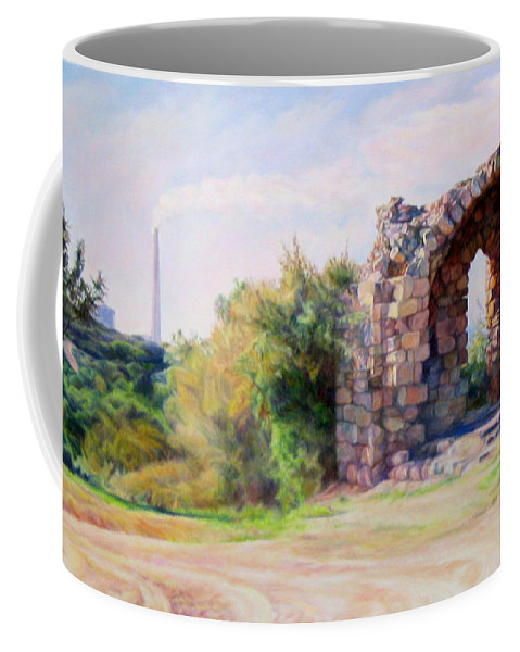 Ancient Coffee Mug featuring the painting Two Civilizations. by Maya Bukhina