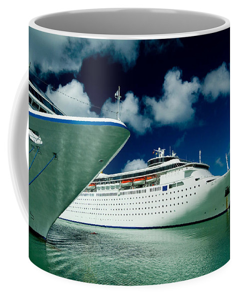 Saint Johns Coffee Mug featuring the photograph Two Cruise Ships Docked At A Caribbean by Todd Gipstein