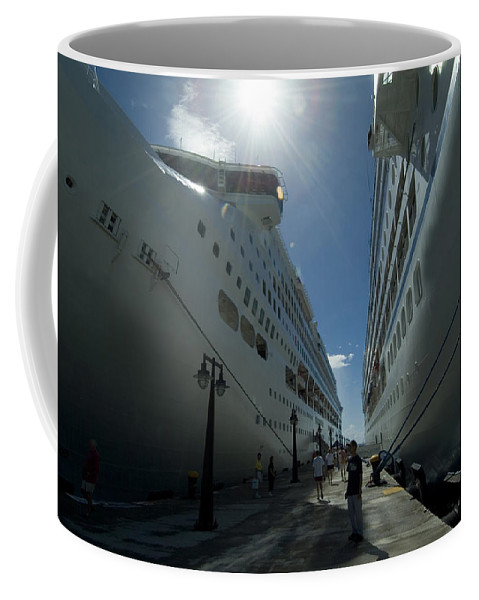 Basseterre Coffee Mug featuring the photograph Two Cruise Ships On Either Side by Todd Gipstein