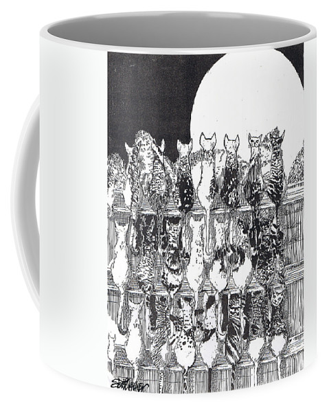 Cats Coffee Mug featuring the drawing Two Dozen And One Cats by Seth Weaver