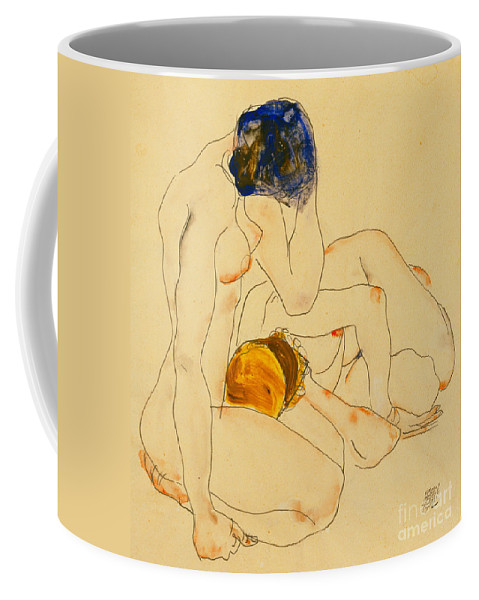 Egon Schiele Coffee Mug featuring the painting Two Friends by Egon Schiele
