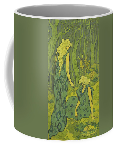 Paul Ranson Coffee Mug featuring the painting Two Girls Next To The Head Of Orpheus by Paul Ranson