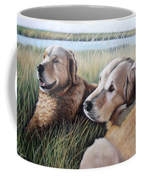 Dogs Coffee Mug featuring the painting Two Golden Retriever by Nicole Zeug