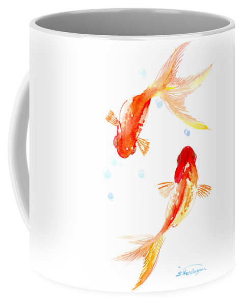 Feng Shui Coffee Mug featuring the painting Two Goldfish Feng Shui by Suren Nersisyan