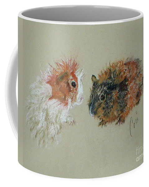 Guineas Coffee Mug featuring the drawing Two Guineas by Cori Solomon