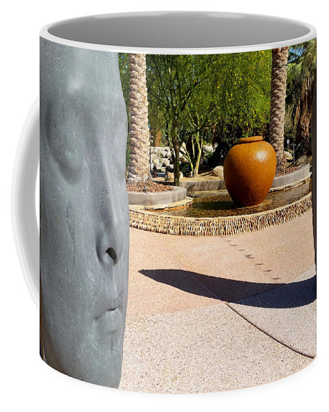 Desert Spring Coffee Mug featuring the photograph Two Heads Are Better Than One - Palm Desert Sculpture Gardens by Brooks Garten Hauschild