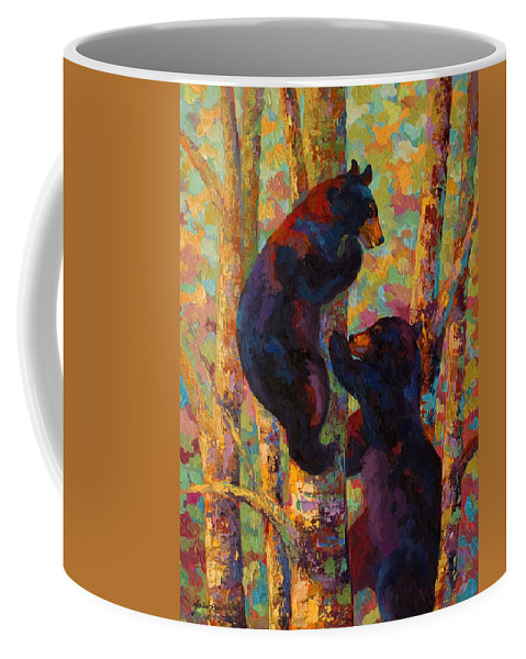 Bear Coffee Mug featuring the painting Two High - Black Bear Cubs by Marion Rose