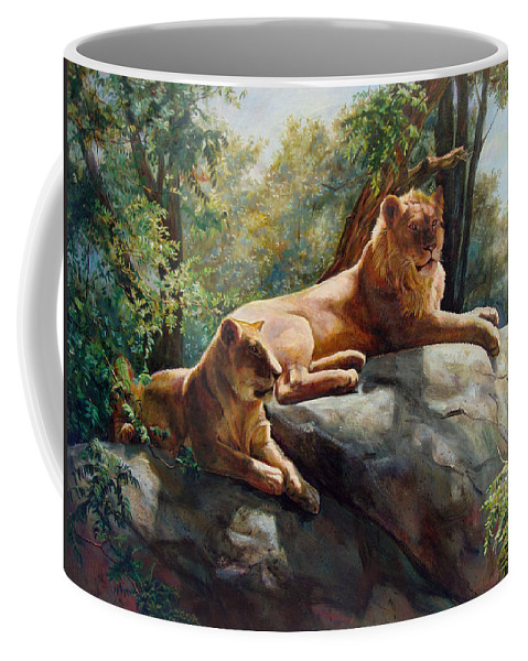 Lions Coffee Mug featuring the painting Two Lions - Forever And Always Together by Svitozar Nenyuk