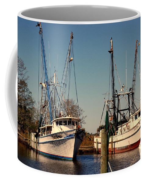 Two Old Shrimp Boats Coffee Mug featuring the photograph Two Old Shrimpboats by Susanne Van Hulst