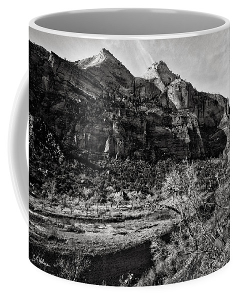 Art Photograph Coffee Mug featuring the photograph Two Peaks - Bw by Christopher Holmes