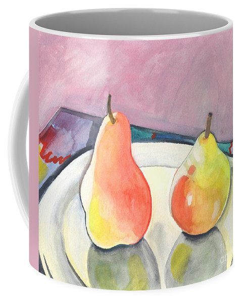 Pear Coffee Mug featuring the painting Two Pears by Helena Tiainen