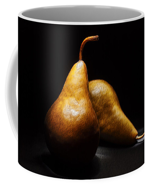 Pears Coffee Mug featuring the photograph Two Pears Light Painted On Black Background by Vishwanath Bhat