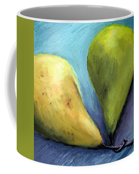 Pear Coffee Mug featuring the painting Two Pears Still Life by Michelle Calkins