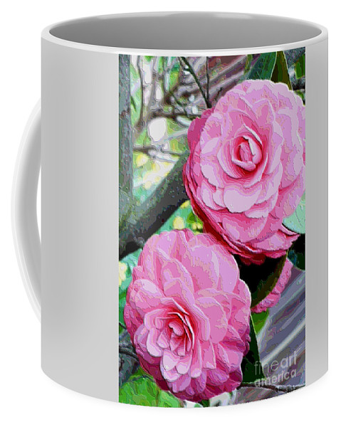 Camellia Coffee Mug featuring the photograph Two Pink Camellias - Digital Art by Carol Groenen