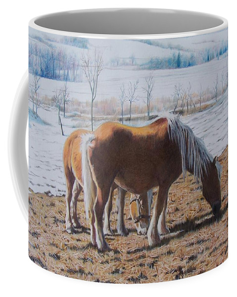 Horses Coffee Mug featuring the mixed media Two Ponies In The Snow by Constance Drescher