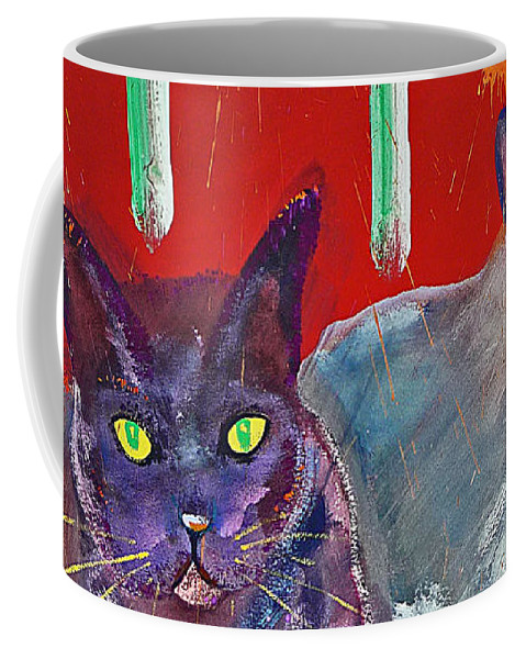Cat Coffee Mug featuring the painting Two Posh Cats by Charles Stuart