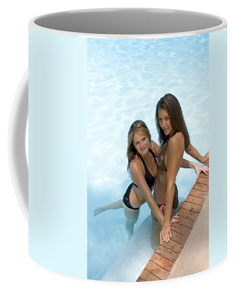 Pool Coffee Mug featuring the photograph Two Pretty Women In A Pool. by Robert Ponzoni