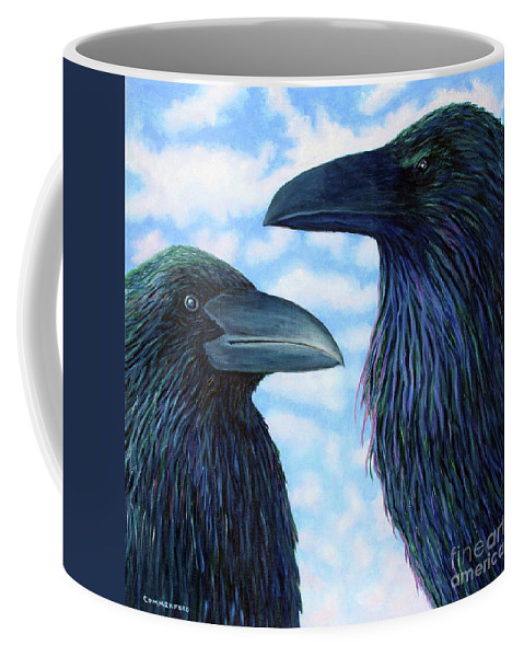 Raven Coffee Mug featuring the painting Two Ravens by Brian Commerford