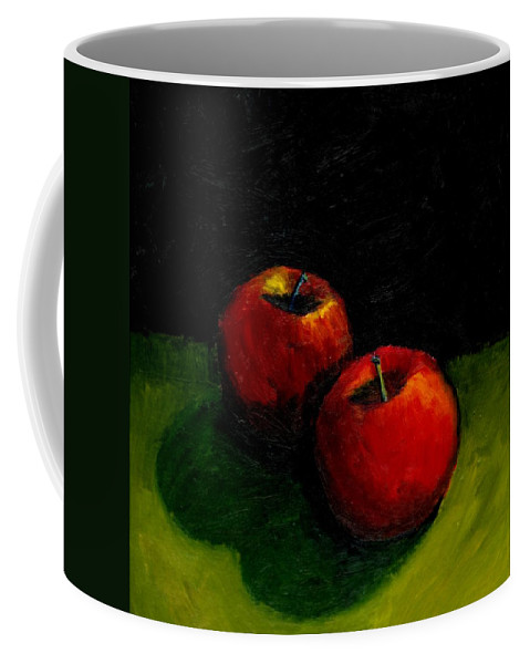 Red Coffee Mug featuring the painting Two Red Apples Still Life by Michelle Calkins