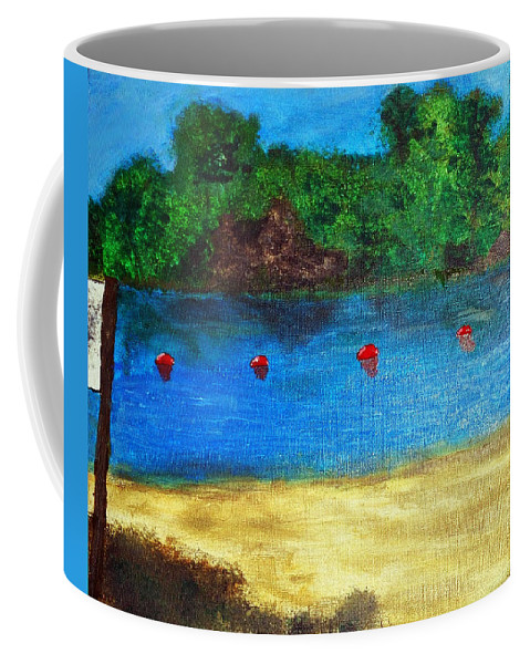 Two Rivers Coffee Mug featuring the painting Two Rivers by Corby Bender