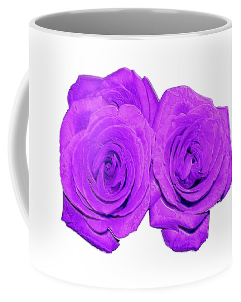 Two Roses Violet Purple And Enameled Effects Coffee Mug featuring the photograph Two Roses Violet Purple And Enameled Effects by Rose Santuci-Sofranko