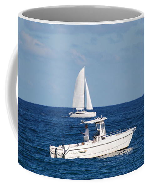 Sea Scape Coffee Mug featuring the photograph Two Ships That Pass Thru The Day by Rob Hans