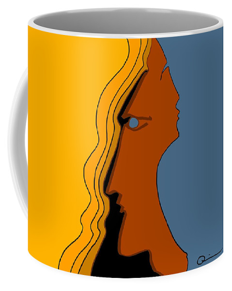 Faces Coffee Mug featuring the digital art Two Sides by Jeff Quiros