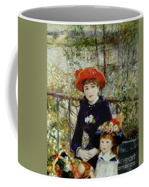 Two Coffee Mug featuring the painting Two Sisters by Pierre Auguste Renoir