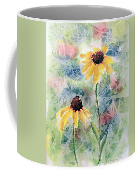 Watercolor Coffee Mug featuring the painting Two Sunflowers by Debbie Lewis