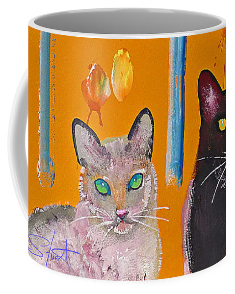 Cat Coffee Mug featuring the painting Two Superior Cats With Wild Wallpaper by Charles Stuart