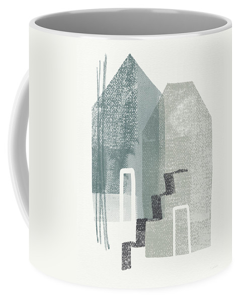 Houses Coffee Mug featuring the painting Two Tall Houses- Art By Linda Woods by Linda Woods