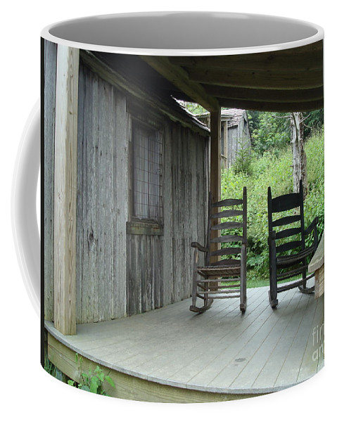 Rocking Coffee Mug featuring the photograph Two Tranquil Rocking Chairs In The Mountains by Maili Page
