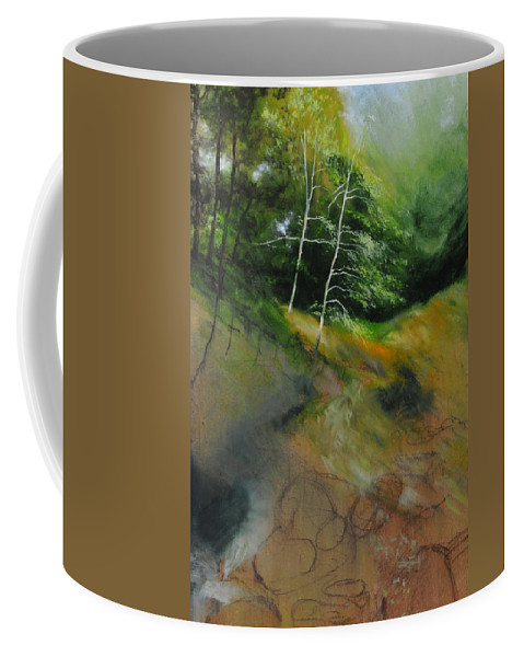 Landscape Coffee Mug featuring the painting Two Trees in Light by Harry Robertson