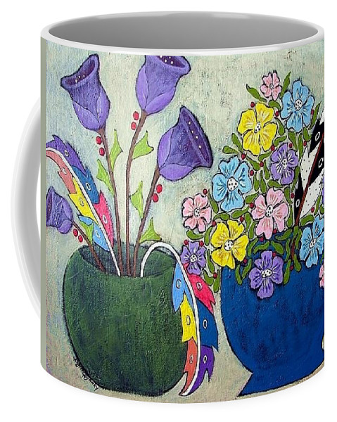 Floral Coffee Mug featuring the painting Two Vases by Linda Stewart