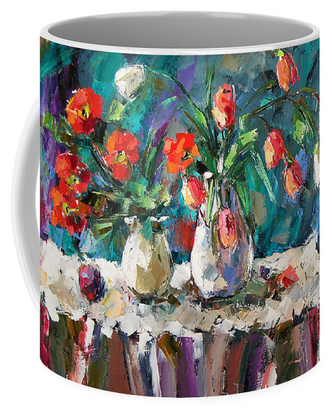 Flowers Coffee Mug featuring the painting Two White Tulips by Debra Hurd