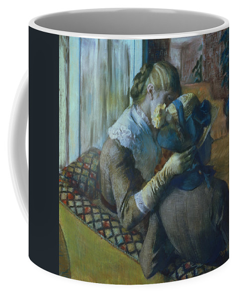 Impressionist; Female; Interior; Bonnet; Sofa; Seated; Caress; Lesbian; Annenberg Collection; Palm Springs; Straw Hat; Boater; Ribbon; Femme; Amie; Amitie; Confidence; Intimite; Conversation; Amies Coffee Mug featuring the painting Two Women by Edgar Degas