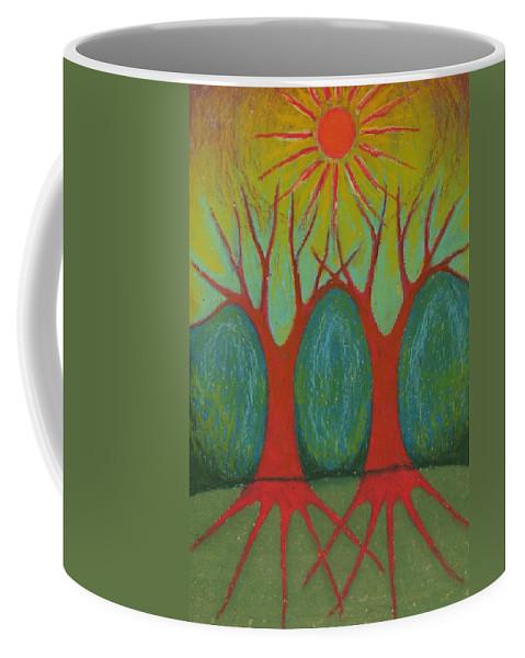 Colour Coffee Mug featuring the pastel Two Worlds by Wojtek Kowalski
