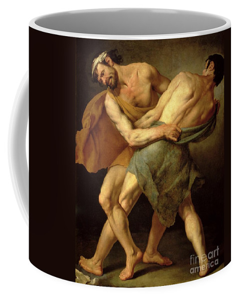 Nude Coffee Mug featuring the painting Two Wrestlers by Cesare Francazano