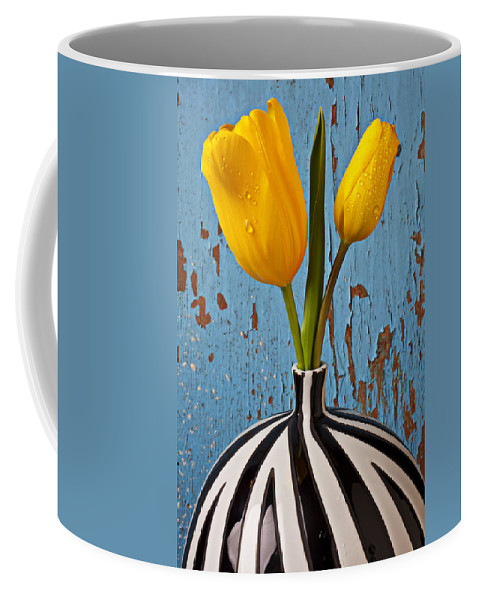 Two Yellow Coffee Mug featuring the photograph Two Yellow Tulips by Garry Gay