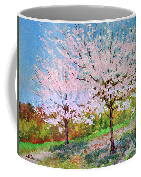 Landscape Coffee Mug featuring the painting Two Yoshinos by Keith Burgess