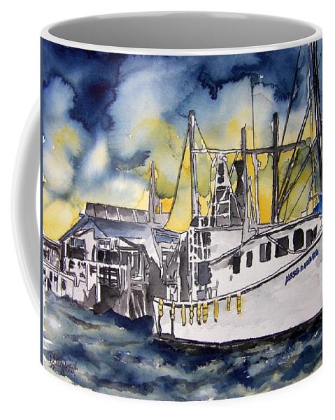 Georgia Coffee Mug featuring the painting Tybee Island Georgia Boat by Derek Mccrea