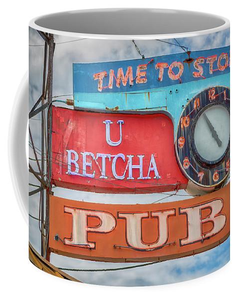 Sign Coffee Mug featuring the photograph U Betcha Pub by Stephen Stookey