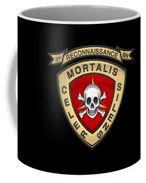 'military Insignia & Heraldry' Collection By Serge Averbukh Coffee Mug featuring the digital art U S M C 3rd Reconnaissance Battalion - 3rd Recon Bn Insignia Over Black Velvet by Serge Averbukh